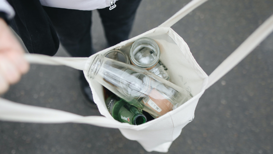 Bag of cans and glasses for recycling