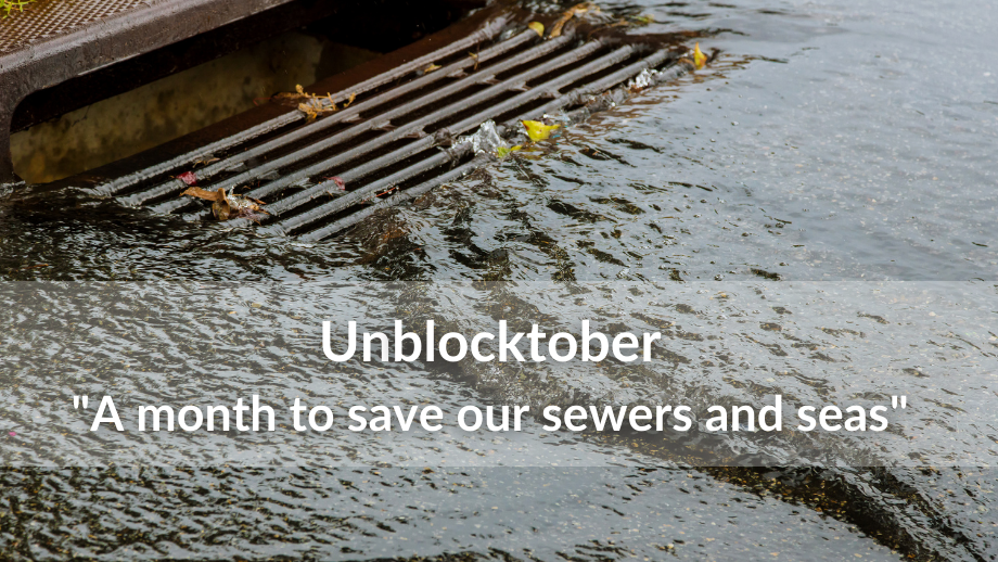 Unblocktober: A month to save our sewers and seas. Image: A close up of water flowing into a sewer