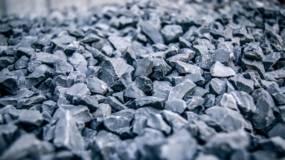 Close up of quarried aggregates